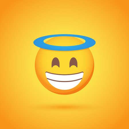 Happy with halo emoticon smile icon with shadow for social network design