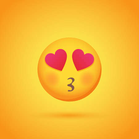 Kissing with love emoticon smile icon with shadow for social network design Vetores
