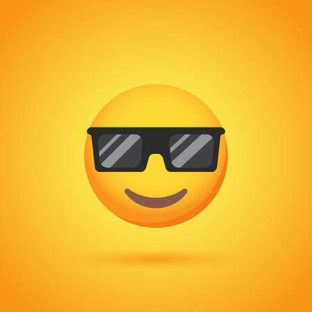 Sunglasses emoticon smile icon with shadow for social network design