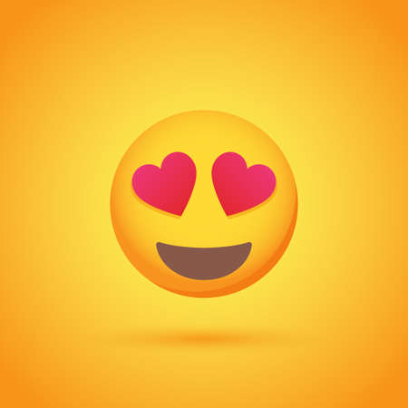Love emoticon smile icon with shadow for social network design