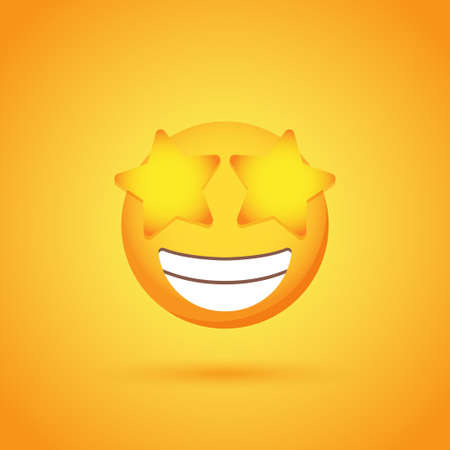 Happy with stars emoticon smile icon with shadow for social network design