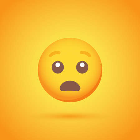 Stun emoticon smile icon with shadow for social network design