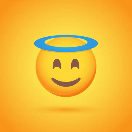 Saint emoticon smile icon with shadow for social network design Ilustrace