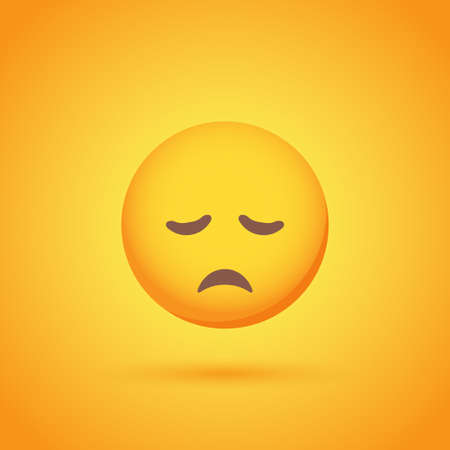 Sorrow emoticon smile icon with shadow for social network design Ilustrace