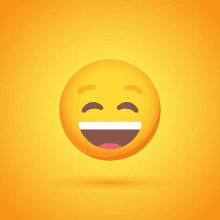 Laughter emoticon smile icon with shadow for social network design Ilustrace