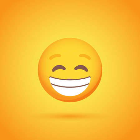 Smiling emoticon smile icon with shadow for social network design