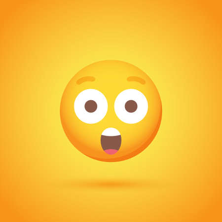 Surprise emoticon smile icon with shadow for social network design