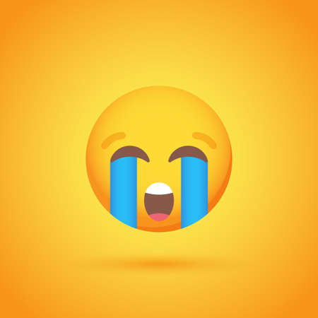 Crying emoticon smile icon with shadow for social network design Ilustrace