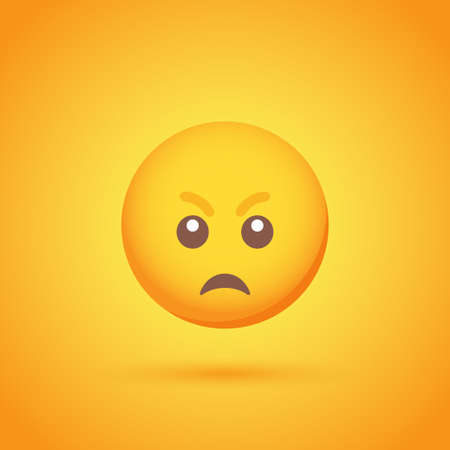 Anger emoticon smile icon with shadow for social network design Ilustrace