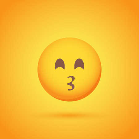 Kiss emoticon smile icon with shadow for social network design