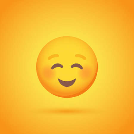 Contentment emoticon smile icon with shadow for social network design Vetores