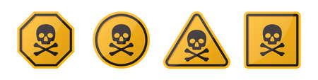 Set of danger hazard sign with skull and crossbones in different shapes in orange