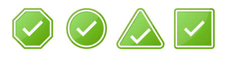 Set of check sign in different shapes in green