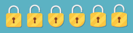 Lock and unlock padlock icons collection in a flat design