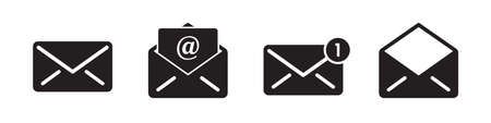 Mail vector icons collection in simple design Ilustrace
