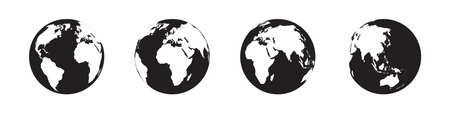 Planet Earth vector icons collection in simple design