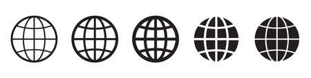 Globe vector icons collection in simple design Ilustrace