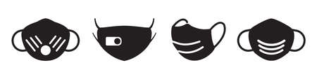 Medical mask vector icons collection in simple design