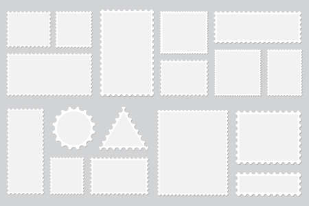 Set of blank postage stamps with shadow