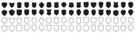 Set of shield icons in black. Vector illustration Ilustrace