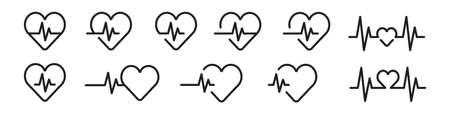 Heartbeat line icon set in black. Vector illustration Ilustrace