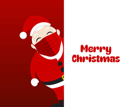 Santa Claus peeps with Merry Christmas background
