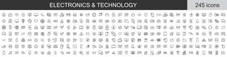 Big set of 245 Electronics and Technology icons. Thin line icons collection. Vector illustration Ilustrace
