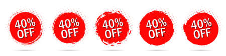 Grunge discount stickers collection with 30 percent off in red with halftone
