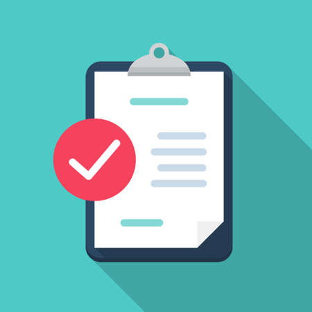 Clipboard with check review document in a flat design with long shadow 일러스트