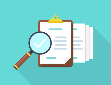 Audit documents with magnifying glass and check in a flat design with long shadow