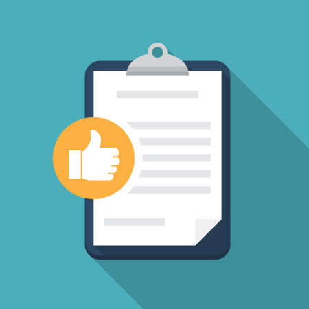 Feedback document with thumb up in a flat design with long shadow
