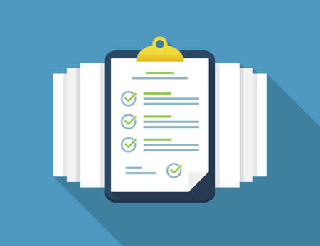 Clipboard with checklist and documents in a flat design with long shadow 일러스트