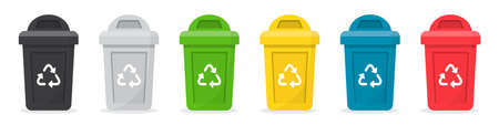 Set of recycle bins for trash in a flat design 일러스트