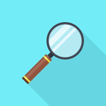 Magnifying glass in a flat design with long shadow