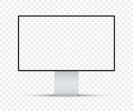 Realistic computer monitor with blank screen on a transparent background