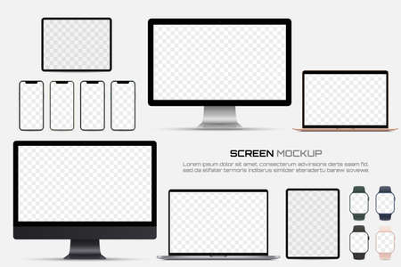 Computer monitor, laptop, tablet, smartphone and smart watch with blank screen. Mockup of screen device 일러스트