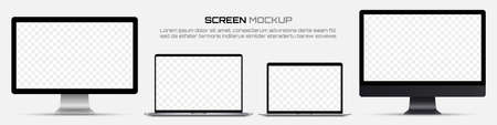 Computer monitors and laptops with blank screen. Mockup of screen device 일러스트