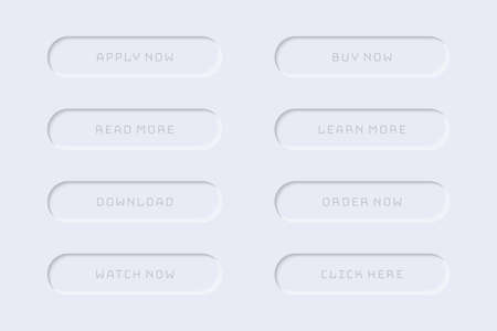 Minimalistic web buttons collection in gray with shadow
