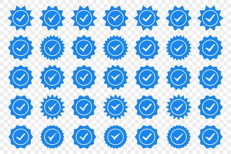 Set of blue check mark badge icons. Profile verification icons