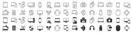 Electronics and devices icons collection in two different styles