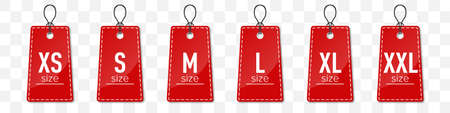 Set of red size clothing labels with shadow