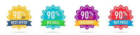 Set of different 90 percentage off  promotion badges 일러스트