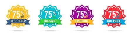 Set of different 75 percentage off promotion badges