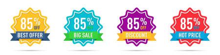 Set of different 85 percentage off promotion badges