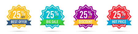 Set of different 25 percentage off promotion badges