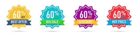 Set of different 60 percentage off promotion badges