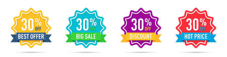 Set of different 30 percentage off promotion badges 일러스트