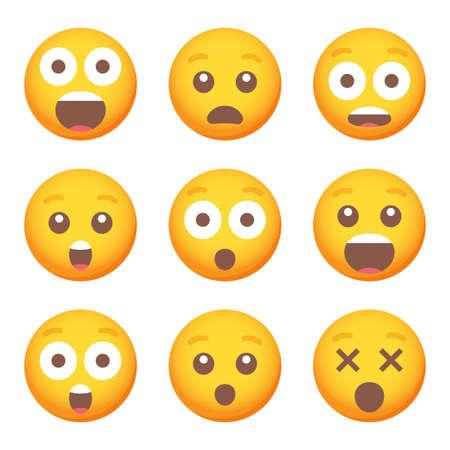 Set of surprise emoticon smile icons. Cartoon emoji set. Vector emoticon set Vecteurs