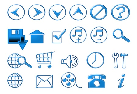 Blue icons for web photo