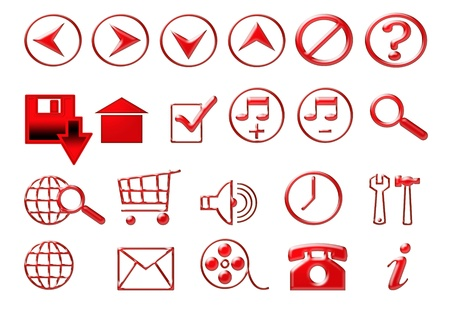 Red icons for web photo